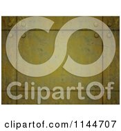 Clipart Of A 3d Grungy Yellow Metal Plate Background Royalty Free CGI Illustration