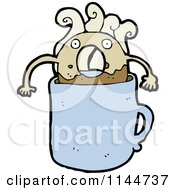Cartoon Of A Donut Dunking In A Blue Coffee Mug Royalty Free Vector Clipart by lineartestpilot