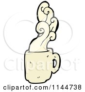 Cartoon Of A Beige Coffee Mug With Steam 1 Royalty Free Vector Clipart by lineartestpilot