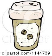 Cartoon Of A Brown To Go Coffee Cup 2 Royalty Free Vector Clipart by lineartestpilot