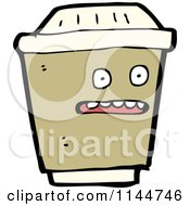 Cartoon Of A Surprised Brown To Go Coffee Mascot Royalty Free Vector Clipart