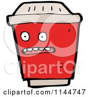 Cartoon Of A Surprised Red To Go Coffee Mascot Royalty Free Vector Clipart