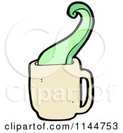 Cartoon Of A Beige Coffee Mug With A Tentacle 2 Royalty Free Vector Clipart