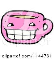 Cartoon Of A Pink Coffee Mug Mascot 1 Royalty Free Vector Clipart