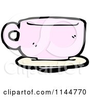 Cartoon Of A Pink Coffee Mug 5 Royalty Free Vector Clipart by lineartestpilot