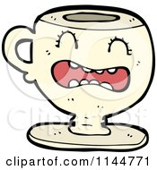 Cartoon Of A Scared Beige Coffee Mug Mascot Royalty Free Vector Clipart by lineartestpilot