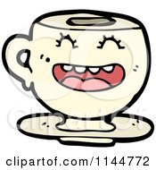 Cartoon Of A Laughing Beige Coffee Mug Mascot Royalty Free Vector Clipart by lineartestpilot