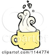 Cartoon Of A Yellow Coffee Mug With Steam 2 Royalty Free Vector Clipart by lineartestpilot