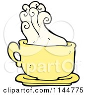Cartoon Of A Yellow Coffee Mug With Steam 1 Royalty Free Vector Clipart by lineartestpilot