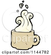 Cartoon Of A Steamy Tan Coffee Mug 2 Royalty Free Vector Clipart by lineartestpilot