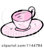 Cartoon Of A Pink Tea Cup And Saucer 2 Royalty Free Vector Clipart by lineartestpilot