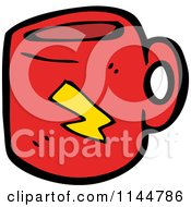 Cartoon Of A Red Coffee Mug With A Bolt Royalty Free Vector Clipart by lineartestpilot
