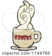 Cartoon Of A Steamy Tan Coffee Mug 3 Royalty Free Vector Clipart by lineartestpilot