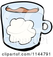 Cartoon Of A Blue Coffee Mug With A Cloud 1 Royalty Free Vector Clipart by lineartestpilot
