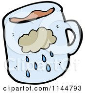Cartoon Of A Blue Coffee Mug With A Rain Cloud Royalty Free Vector Clipart by lineartestpilot