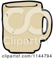 Cartoon Of A Tan Coffee Mug Royalty Free Vector Clipart by lineartestpilot