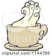 Cartoon Of A Steamy Tan Coffee Mug 1 Royalty Free Vector Clipart by lineartestpilot