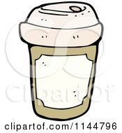 Cartoon Of A Brown To Go Coffee Cup 1 Royalty Free Vector Clipart