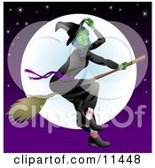 Ugly Witch Flying On A Broomstick In Front Of The Moon Clipart Illustration