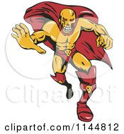 Clipart Of A Male Super Villain Running Royalty Free Vector Illustration by patrimonio