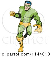 Clipart Of A Male Superhero Running 1 Royalty Free Vector Illustration