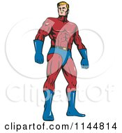 Clipart Of A Male Superhero Standing Royalty Free Vector Illustration by patrimonio