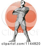 Halftone Male Superhero Standing Over A Halftone Circle