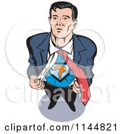 Clipart Of A Male Superhero Ripping His Shirt Off Royalty Free Vector Illustration by patrimonio