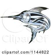 Clipart Of A Blue Swordfish Leaping 2 Royalty Free Vector Illustration by patrimonio