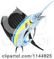 Clipart Of A Retro Sailfish 5 Royalty Free Vector Illustration