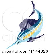 Clipart Of A Retro Sailfish 1 Royalty Free Vector Illustration