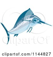 Clipart Of A Blue Swordfish Leaping 1 Royalty Free Vector Illustration