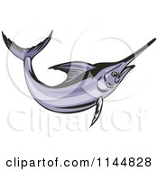 Clipart Of A Purple Swordfish Leaping Royalty Free Vector Illustration