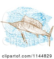 Clipart Of An Engraved Sailfish 2 Royalty Free Vector Illustration