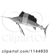 Clipart Of A Retro Sailfish 10 Royalty Free Vector Illustration