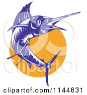 Clipart Of A Retro Sailfish 9 Royalty Free Vector Illustration