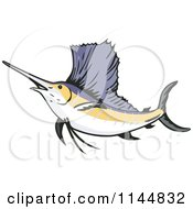 Clipart Of A Retro Sailfish 7 Royalty Free Vector Illustration