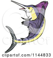 Clipart Of A Retro Sailfish 6 Royalty Free Vector Illustration