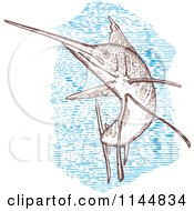Clipart Of An Engraved Sailfish 1 Royalty Free Vector Illustration