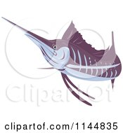 Clipart Of A Retro Sailfish 4 Royalty Free Vector Illustration