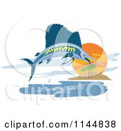 Clipart Of A Retro Sailfish Leaping Near An Island Royalty Free Vector Illustration