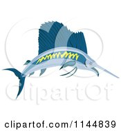 Clipart Of A Retro Sailfish 2 Royalty Free Vector Illustration