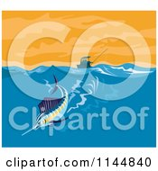 Clipart Of A Sailfish Riding A Wave Royalty Free Vector Illustration