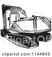 Retro Black And White Mechanical Digger