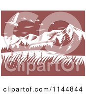 Clipart Of Retro Woodcut Mountains With Geese Royalty Free Vector Illustration by patrimonio