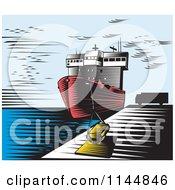 Retro Woodcut Ship At Dock