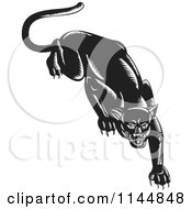 Clipart Of A Stalking Black Jaguar Royalty Free Vector Illustration