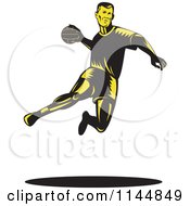 Clipart Of A Retro Woodcut Handball Player Jumping Royalty Free Vector Illustration by patrimonio