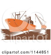 Clipart Of A Retro Woodcut Orange Cargo Carrier Ship At Dock Royalty Free Vector Illustration