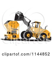 Clipart Of A Retro Front Loader Tractor Dumping Soil Into A Machine Royalty Free Vector Illustration